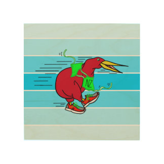 A cute cartoon Kiwi running wearing shoes Wood Print