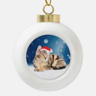 A Cute Cat wearing red Santa hat Christmas Snow Ceramic Ball Christmas Ornament