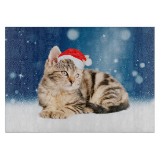 A Cute Cat wearing red Santa hat Christmas Snow Cutting Board