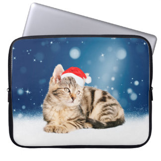 A Cute Cat wearing red Santa hat Christmas Snow Laptop Computer Sleeve
