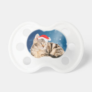 A Cute Cat wearing red Santa hat Christmas Snow Pacifier