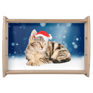 A Cute Cat wearing red Santa hat Christmas Snow Serving Tray