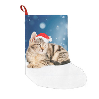 A Cute Cat wearing red Santa hat Christmas Snow Small Christmas Stocking
