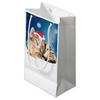 A Cute Cat wearing red Santa hat Christmas Snow Small Gift Bag