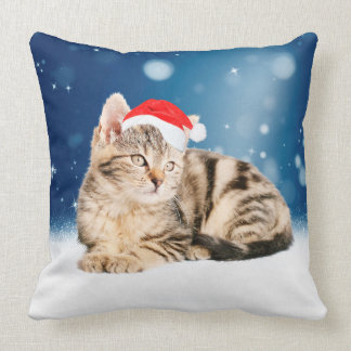 A Cute Cat wearing red Santa hat Christmas Snow Throw Pillow