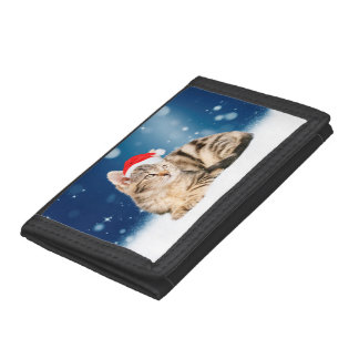 A Cute Cat wearing red Santa hat Christmas Snow Tri-fold Wallets