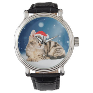 A Cute Cat wearing red Santa hat Christmas Snow Watches