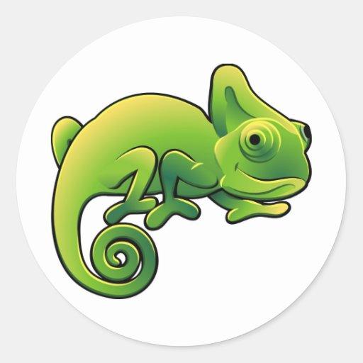 A cute chameleon lizard round sticker