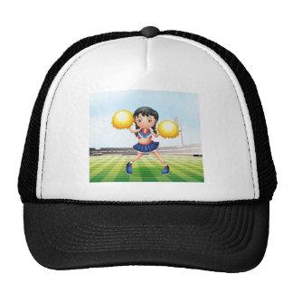 A cute cheerdancer at the soccer field trucker hat