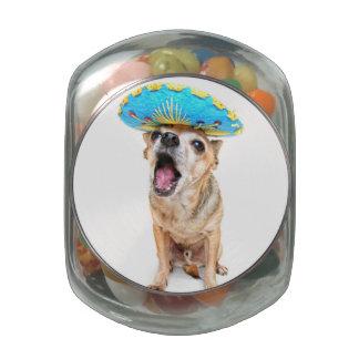 A Cute Chihuahua In A Halloween Costume Glass Candy Jars