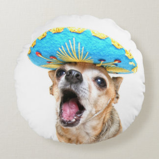 A Cute Chihuahua In A Halloween Costume Round Pillow