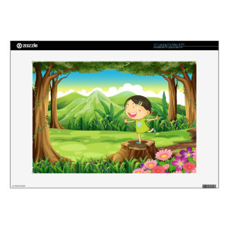 """A cute child above the stump at the forest skin for 15"""" laptop"""