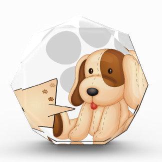A cute dog with an empty rectangular template acrylic award
