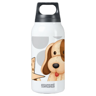 A cute dog with an empty rectangular template SIGG thermo 0.3L insulated bottle