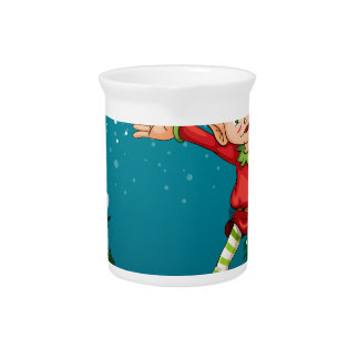 A cute dwarf near the pine trees drink pitcher