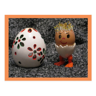 A Cute Eggmen Found A Big Egg Easter Postcard