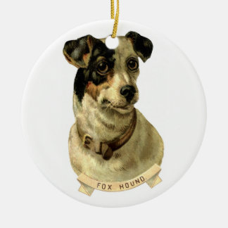 A cute Fox Hound dog Posing Ceramic Ornament