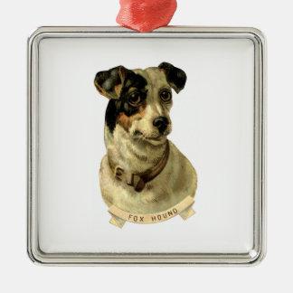 A cute Fox Hound dog Posing Metal Ornament
