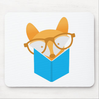 a cute fox reading mouse pad