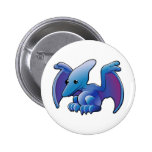A cute friendly dinosaur pterodactyl or pteranodon 2 inch round button