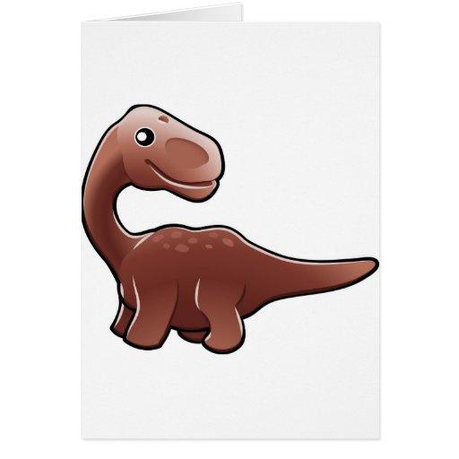 A cute friendly diplodocus dinosaur cards