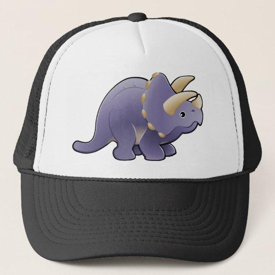 A cute friendly triceratops dinosaur trucker hat