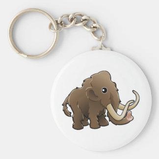 A cute friendly woolly mammoth basic round button keychain