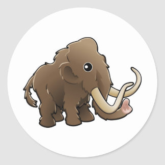 A cute friendly woolly mammoth classic round sticker
