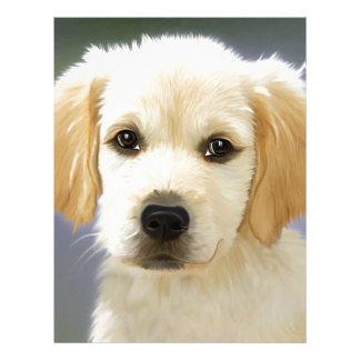 A cute Golden Retriever posing painting Letterhead