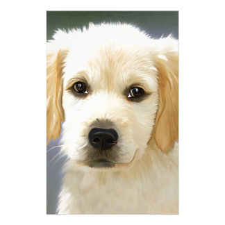 A cute Golden Retriever posing painting Stationery