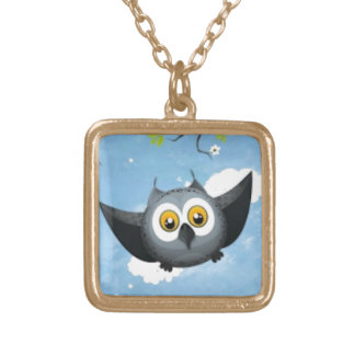 A Cute Gray Owl Gold Plated Necklace