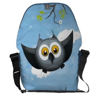 A Cute Gray Owl Messenger Bag