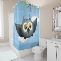 A Cute Gray Owl Shower Curtain