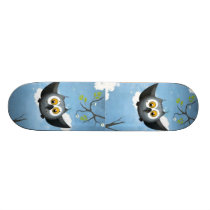 A Cute Gray Owl Skateboard Deck