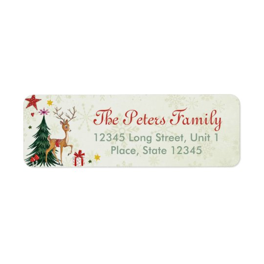 Christmas Address Labels.A Cute Green Tree Girly Christmas Animal Reindeer Label