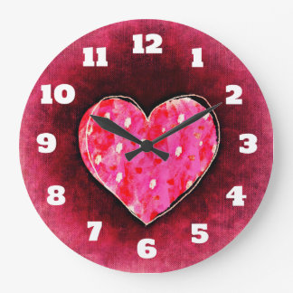 A Cute Hand Drawn Pink Heart on a Grunge Texture Large Clock