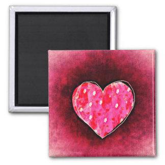 A  Cute Hand Drawn Pink Heart on a Grunge Texture Magnet