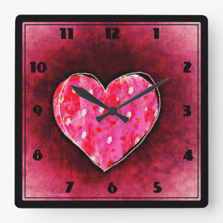 A  Cute Hand Drawn Pink Heart on a Grunge Texture Square Wall Clock
