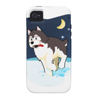 A Cute Husky Playing in the Snow on a Clear Night iPhone 4/4S Cases