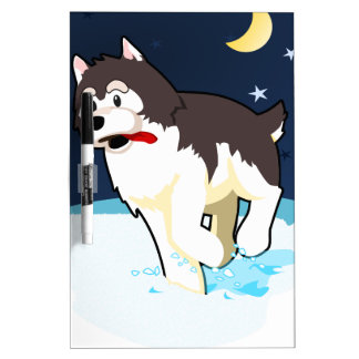 A Cute Husky Playing in the Snow on a Clear Night Dry-Erase Board