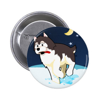 A Cute Husky Playing in the Snow on a Clear Night Pinback Button