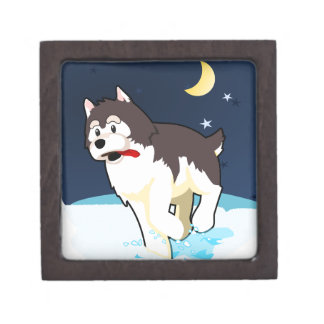 A Cute Husky Playing in the Snow on a Clear Night Premium Gift Box