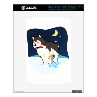 A Cute Husky Playing in the Snow on a Clear Night Skins For The NOOK