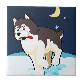 A Cute Husky Playing in the Snow on a Clear Night Ceramic Tiles