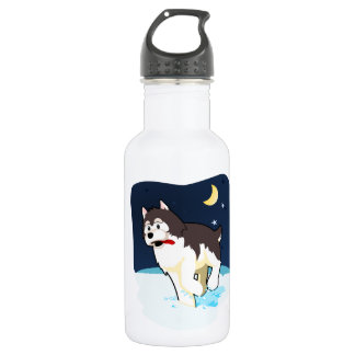 A Cute Husky Playing in the Snow on a Clear Night Water Bottle