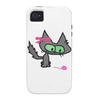 A Cute Kitty With A Pink Toy Mouse iPhone 4/4S Case