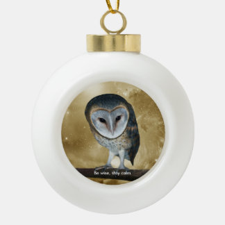 A Cute little Barn Owl fantasy Ceramic Ball Christmas Ornament