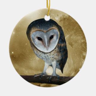 A Cute little Barn Owl Fantasy Ceramic Ornament