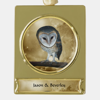 A Cute little Barn Owl fantasy Gold Plated Banner Ornament