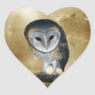 A Cute little Barn Owl Fantasy Heart Sticker